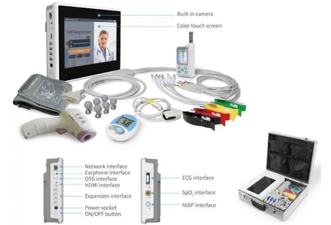 Máy theo dõi bệnh nhân đa thông số tự kiểm tra từ xa để đo dấu hiệu sinh tồn của bệnh nhân
