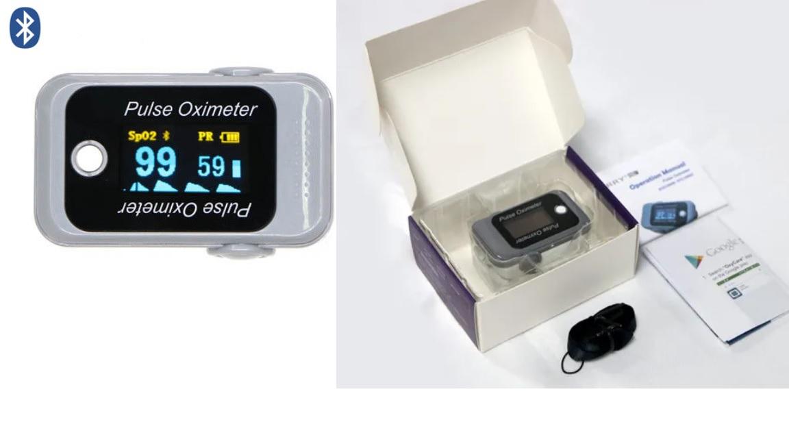 Máy đo oxy đầu ngón tay kết nối Bluetooth qua Smartphone; Ipad; PC hệ điều hành Android; IOS