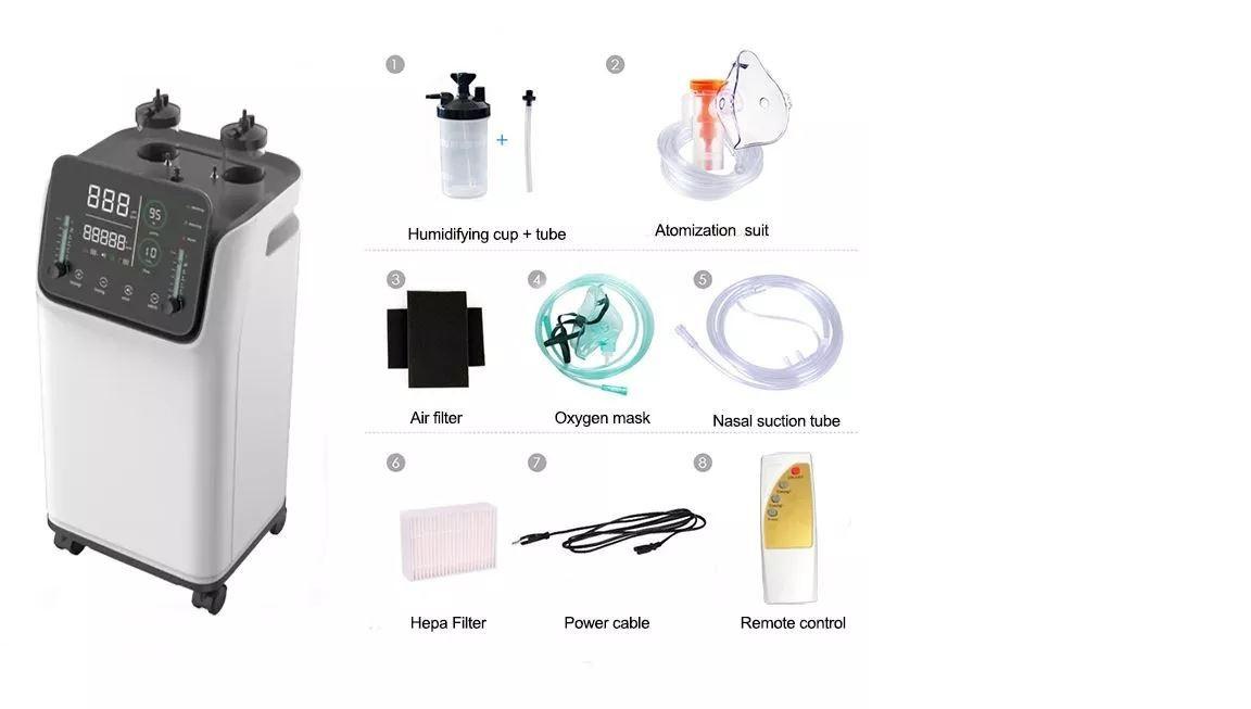 Máy tạo Oxy đa năng kèm phun sương (dùng cho gia đình & cá nhân); công suất 10 lít; với màn hình cảm ứng Led 12inch sử dụng được cùng 01 lúc cho 02 người; Điều khiển bằng remote từ xa 20m không bị chặ