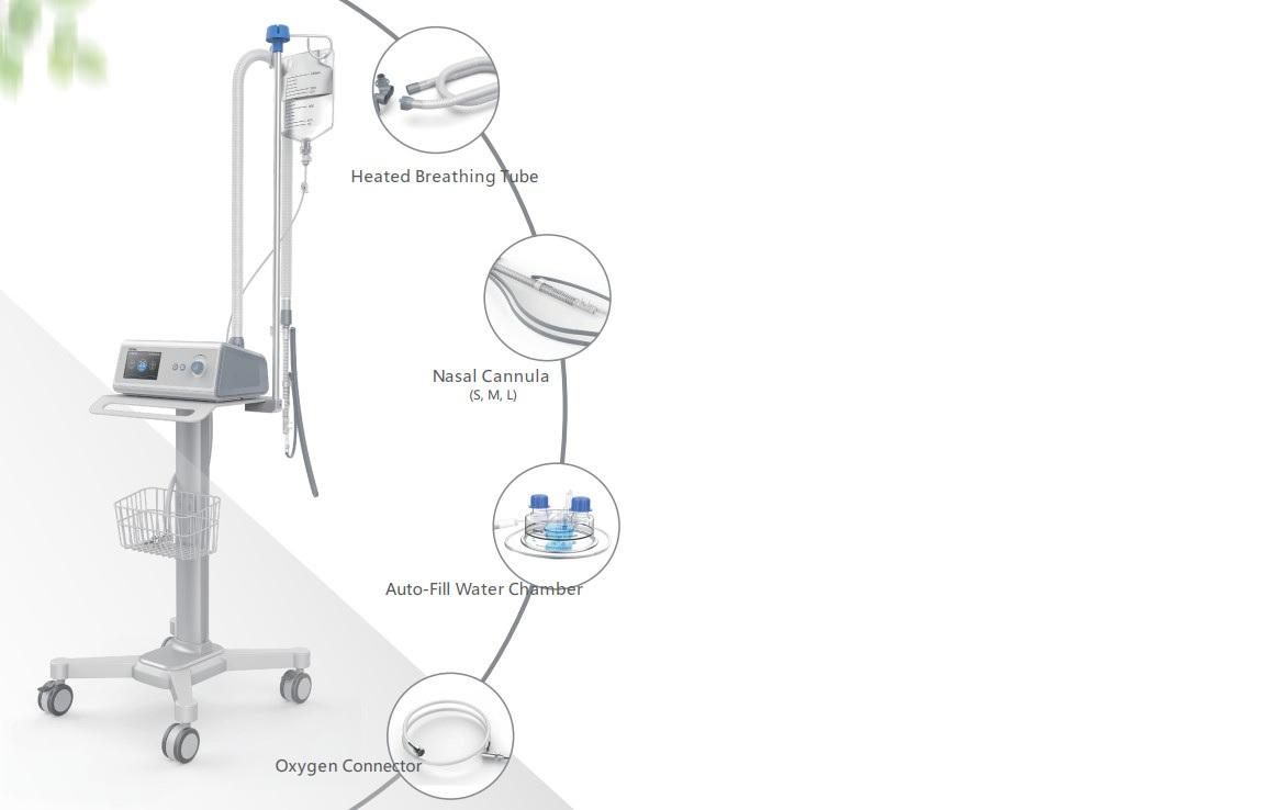 Máy tạo Ôxy dòng cao / Máy thở oxy làm ẩm dòng cao qua canun mũi trong điều trị bệnh nhân suy hô hấp cấp; dùng để hút đàm nhớt; nội soi khí phế quản và đặt nội khí quản (HFNO; HFNC)