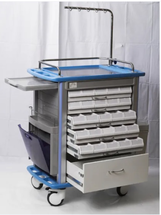 Xe đẩy tiêm thuốc dùng trong cấp cứu và cấp phát thuốc với 05 ngăn kéo đựng thuốc có thể kéo ra từ 02 bên