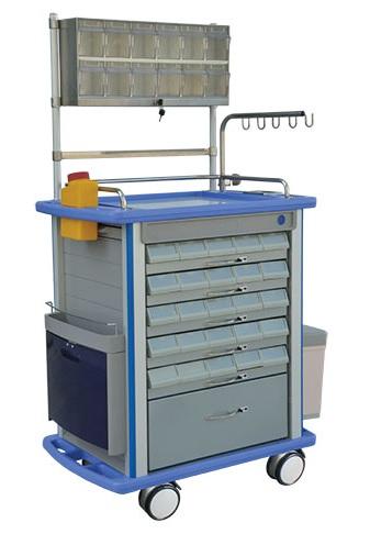 Xe đẩy tiêm thuốc dùng trong cấp cứu; cấp phát thuốc và gây mê với 05 ngăn kéo đựng thuốc có thể kéo ra từ 02 bên
