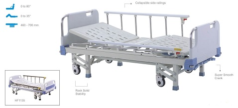 Giường hồi sức cấp cứu 3 chức năng 3 tay quay