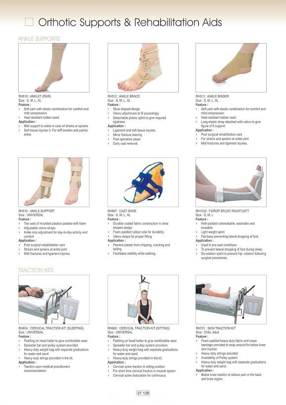 Vật tư tiêu hao khoa CTCH - Đai nẹp bàn chân & cổ chân; cổ