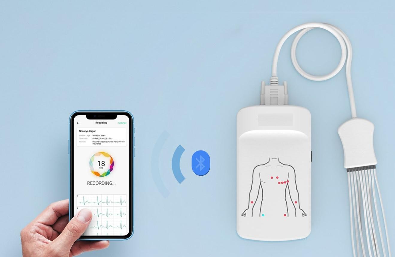 Máy đo điện tim 12 kênh tại giường; tại nhà; trên xe cứu thương loại cầm tay có kết nối Blutooth để kết nối với PC, Iphone Smartphone bởi hệ điều hành Android