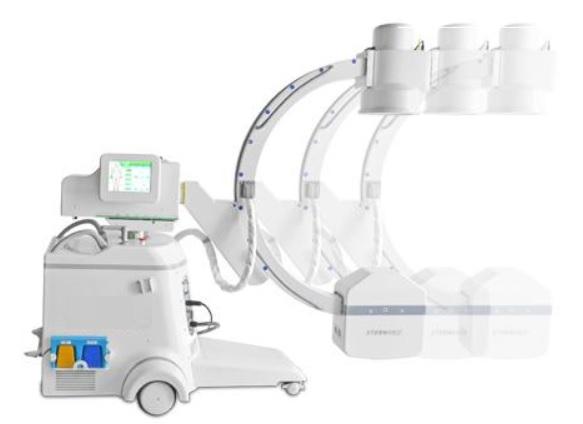 Hệ thống C-Arm di động kỹ thuật số tần số cao với chân đế màn hình kép