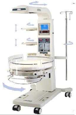 Giường sưởi ấm trẻ sơ sinh kiêm bàn làm rốn có chức năng hồi sức cấp cứu; có cân trọng lượng; máy đo SpO2 và máy thở CPAP