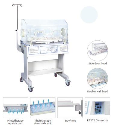 Lồng ấp trẻ sơ sinh với chế độ kiểm soát khí và da; Có đèn điều trị vàng da mặt trên và dưới; Kết nối được với máy vi tính