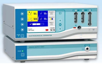 Hệ thống máy cắt đốt cầm máu Plasma Argon (bao gồm máy cắt đốt điện cao tần 300W và kèm máy cắt đốt cầm máu Argon Plasma)